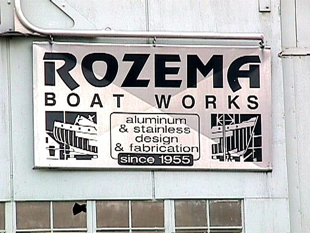 Rozema Boat Works sign