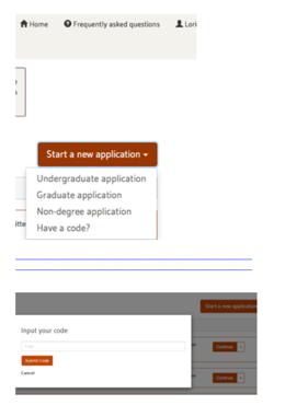 Start a new application menu code