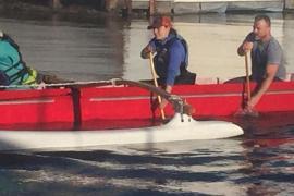 Arwen in outrigger canoe