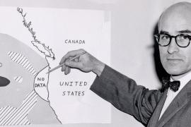 Wayne Burt pointing to a map showing no data