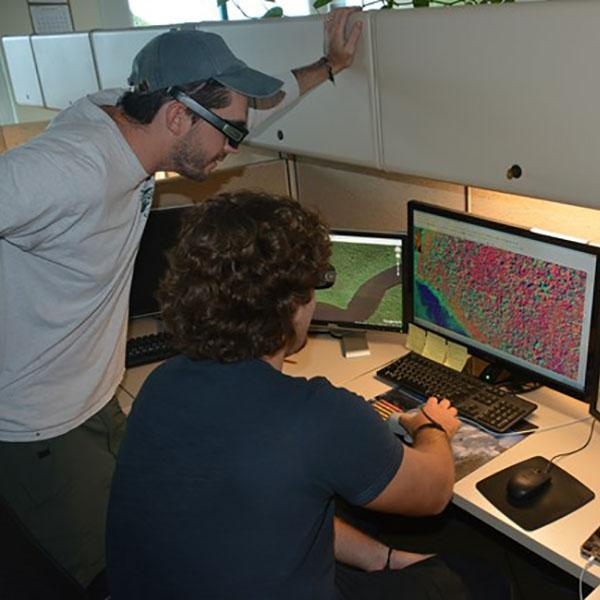 VeVegetation mapping technicians at a workstation doing photo-interpretation.