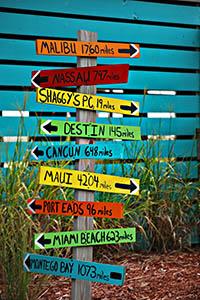 destination distances sign post
